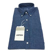 ASPESI camicia uomo colore denim B.D. MAGRA CE14 E542 button down e taschino