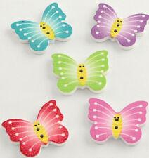 6 Knöpfe Schmetterling Butterfly 21mm hoch 25mm breit 2,5mm dick - Loch 1,5mm