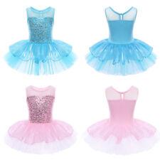 Mädchen Pailletten Kleid Ballettkleid Tanzkleid Ballett Trikot mit Tütü Röckchen
