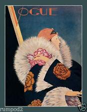 Vogue/Art Deco/Woman in Fur/Vintage Reproduction /  Poster/13x19 inch paper