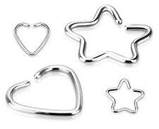 Corazón o Star-Clip en falso pendiente / cartílago non Piercing-Acero Quirúrgico