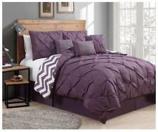 Queen King Bed Purple Plum White Pintuck Pleat Chevron 7pc Comforter Set Bedding