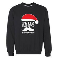 Feliz Navidad Bitchachos Ugly Christmas Sweater Santa Mustache Funny Sweatshirt