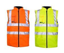 Yellow Orange Hi-Viz High Visibility Body Warmer Gilet Jacket Coat Workwear 8-20