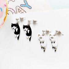 Animal kitten earrings white black