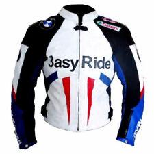 Hombres BMW Easy Ride Carreras Deportes Motocicleta Cowhide Cuero Biker Chaqueta