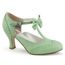 Scarpe Donna Decolte Decollete Pelle Verde Menta Tacco Comodo Pleaser FLAPPER-11