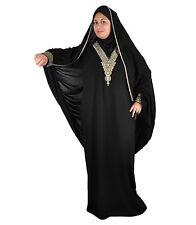 Dubai Abaya in stile islamico fisso abito con velo in nero-aby00334