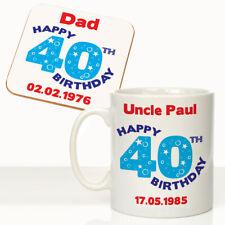 Personalised Mens 40th Birthday Mug Coaster Set Dads Uncles 40th Birthday Gift