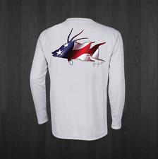 Men's White Performance USA Hogfish Fishing Shirts