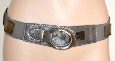CINTURA stringivita donna GRIGIO ARGENTO pelle bustino elastico metallo 250