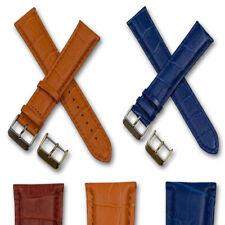 XXL Extra long leather watch strap crocodile grain band gold & silver buckle XL