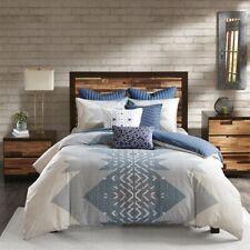 3pc Shades of Blue Chevron & Geometric 200TC Cotton Comforter AND Decorative Sha