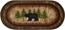 Lodge Cabin Rug Mat Birch Bear Black Brown Beige Washable Accent Matching Set
