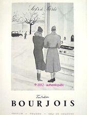 PUBLICITE PARFUM BOURJOIS SOIR DE PARIS TENTATION AMOUREUX DE 1940 FRENCH AD PUB