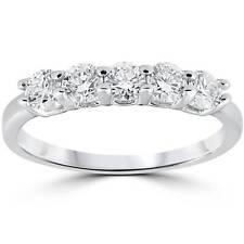 G/SI 1/2 cttw Diamond Wedding Five Stone Anniversary Round Ring 14k White Gold
