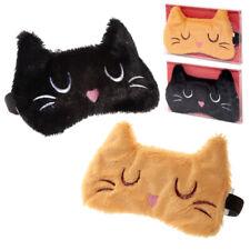 Sleepy Pussy Cat Soft Faux Fur Novelty Beige Or Black Sleep/Eye Mask - One Size
