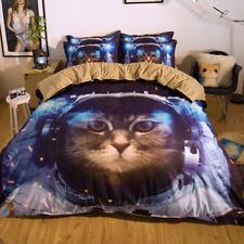 3D Astronaut Cat 899 Bed Pillowcases Quilt Duvet Cover Set Single Queen King CA