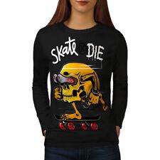 Skate Or Die Skull Funny Women Long Sleeve T-shirt NEW | Wellcoda