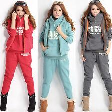 Winter Women  Casual Sweat suits Sports Hoodies Warm Coat+Vest+Pants Tracksuit*3