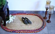 Vintage Oriental Handmade Vintage Chindi Jute Reversible Rugs Oval Shaped Floor