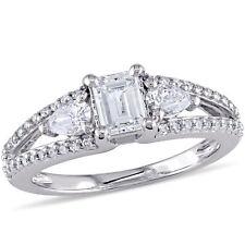 Amour 7/8 CT TW Diamond 3-Stone Bridal Ring Set in 14k White Gold