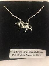 Unicorn R152 emblema en un collar de plata esterlina 925 16,18,20,26,30