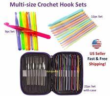 Multi Size Plastic Aluminum Crochet Hooks Needles Knit Weave Craft Yarn Gift Set