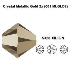 CRYSTAL METALLIC Light GOLD 2x 001 MLG2 Genuine Swarovski 5328 Bicone Bead *pick