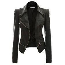 2019 Autumn Women faux Leather Jacket Gothic Black  moto jacket Zippers  Long sl
