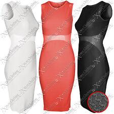 WOMENS LADIES TEXTURED DOT MESH MIDDLE MIDI DRESS SLIMMING BODYCON LONG DRESSES
