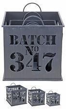 3 Sizes Shabby Chic Metal Storage Boxes Planters Log Store Basket Waste Bin