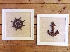 ◅    Set of 2 -  12 X 12 inch Ships Wheel Anchor Beach Wall Decor