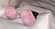 New Oversized Cat Eye Sunglasses Flat Mirrored Lens Metal Frame Women Fashion3