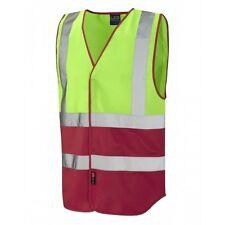 Leo Workwear Pilton Lime/Red Hi Vis Reflective Waistcoat