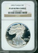 1993-P American Silver Eagle ASE NGC S$1 PF69 PR69 PROOF PQ