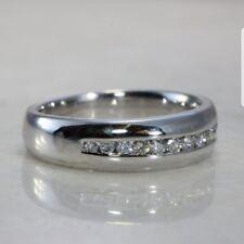 Mens 14k Solid White Gold Man made  Diamond Wedding Band Ring