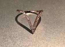 18k Rose Gold Ring made w/ Swarovski Crystal Pave Stone Gorgeous V Shape Ring