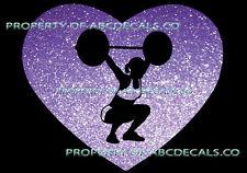 VRS HEART Love Weight Lifting Girl Cross Fit Power Squat CAR DECAL METAL STICKER