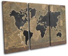 World Atlas Antique Vintage Maps Flags TREBLE CANVAS WALL ART Picture Print