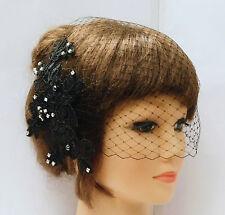 BLACK Birdcage veil Birdcage veil Lace fascinator Diamonte Pearls Bridal Blusher