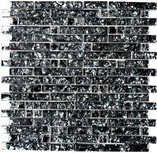 Mosaik Fliese Glasmosaik Stäbchen steinschwarz Wand Art:87-MV718_b | 1 Matte