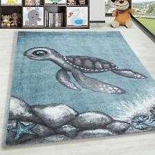 Kinderteppich Kurzflor Schildkröte Kinderzimmer Babyzimmer Grau Blau Meliert