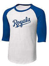NEW Kansas City Royals Baseball T-Shirt Royal Blue White 3/4 Sleeve Mens Shirt