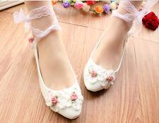 Zapatos de salón blanco rosas novia encaje 3.5, 4.5 8.5, 11 cm 9253