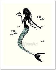 A Mermaid  Silhouette Art Print Home Decor Wall Art Poster - C