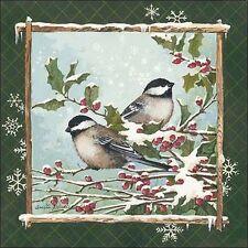 Anita Phillips: Invierno Chickadees bastidor de cuña - Imagen Lienzo Pájaros
