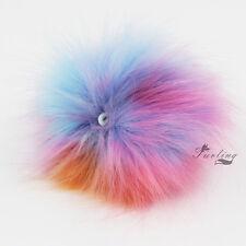 DIY Rainbow Multicolor Faux Fox Fur Fluffy Pom pom Ball for KeyChain Bag Charm