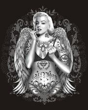 Sexy Marilyn Monroe Gangster Tattoo Angel Wings T-Shirt Tee