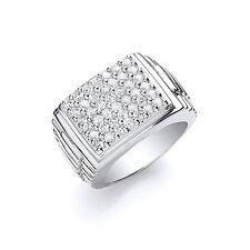 Hombres Cuadrado anillo superior PLATA MACIZA DE LEY CONTRASTE CABALLERO Sello